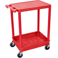 Luxor / H. Wilson RDSTC21RD Red Two Shelf Utility Cart - 1 Tub Shelf, 24 inch x 18 inch x 35 3/4 inch