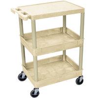 Luxor / H. Wilson STC211-P Putty Three Shelf Utility Cart - 2 Tub Shelves, 24 inch x 18 inch x 36 1/2 inch