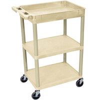 Luxor / H. Wilson STC122-P Putty Three Shelf Utility Cart - 1 Tub Shelf, 24 inch x 18 inch x 36 1/2 inch