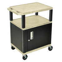Luxor / H. Wilson WT34OWC2E-B Putty Tuffy Two Shelf A/V Cart with Locking Cabinet - 24 inch x 18 inch x 34 inch