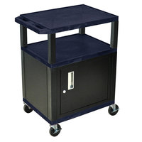 Luxor / H. Wilson WT34ZC2E-B Navy Tuffy Two Shelf A/V Cart with Locking Cabinet - 24 inch x 18 inch x 34 inch