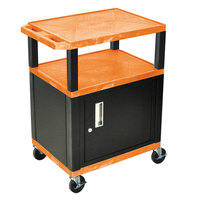 Luxor / H. Wilson WT34ORC2E-B Orange Tuffy Two Shelf A/V Cart with Locking Cabinet - 24 inch x 18 inch x 34 inch