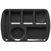 GET TL-151 Black Melamine 9 1/2 inch x 14 3/4 inch Left Hand 6 Compartment Tray - 12 / Pack