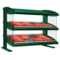 Hatco HXMS-30D Hunter Green LED 30 inch Slanted Double Shelf Merchandiser