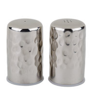 American Metalcraft HMSP2 2.5 oz. Hammered Finish Stainless Steel Salt & Pepper Shaker