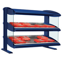 Hatco HXMS-48D Navy Blue LED 48 inch Slanted Double Shelf Merchandiser
