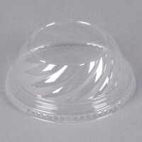 Clear Dome PET Lid for 5 oz., 8 oz., and 12 oz. Sundae Cups - No Hole - 1008/Case