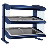 Hatco HZMS-24D Navy Blue 24 inch Slanted Double Shelf Heated Zone Merchandiser - 120V