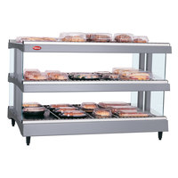 Hatco GR3SDH-27D Gray Granite Glo-Ray 27 inch Horizontal Double Shelf Heated Glass Merchandising Warmer - 120V