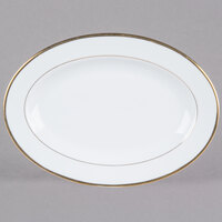 CAC GRY-12 Golden Royal 10 inch Bright White Oval Porcelain Platter - 24/Case
