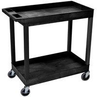 Luxor / H. Wilson EC11-B Black 2 Tub Cart Utility Cart - 18 inch x 35 1/4 inch x 34 1/4 inch