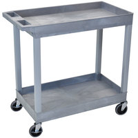 Luxor / H. Wilson EC11-G Gray 2 Tub Cart Utility Cart - 18 inch x 35 1/4 inch x 34 1/4 inch