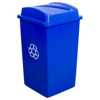Continental Swingline 25 Gallon Blue Square Recycling Trash Can and Lid with Slot Set