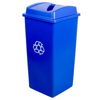 Continental Swingline 32 Gallon Blue Square Recycling Trash Can and Lid with Slot Set