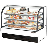 True TCGR-59 59 inch White Curved Glass Refrigerated Bakery Display Case - 32.5 Cu. Ft.