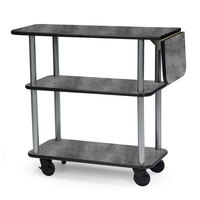 Geneva 36102 Rectangular 3 Shelf Laminate Tableside Service Cart with 10 inch Drop Leaf and Pewter Brush Finish - 16 inch x 48 inch x 35 1/4