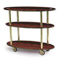 Geneva 36304 Oval 3 Shelf Laminate Table Side Service Cart with Handle Cutouts and Red Maple Finish - 23 inch x 44 inch x 35 1/4