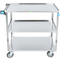 Lakeside 444 Medium Duty Stainless Steel 3 Shelf Utility Cart - 22 3/8 inch x 39 1/4 inch x 37 1/4 inch