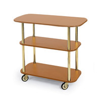 Geneva 36100 Rectangular 3 Shelf Laminate Tableside Service Cart with Amber Maple Finish - 16 inch x 42 3/8 inch x 35 1/4 inch
