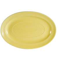 CAC TG-14-SFL Tango 13 5/8 inch x 9 3/8 inch Sunflower Oval Platter - 12/Case