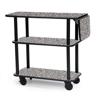 Geneva 36102 Rectangular 3 Shelf Laminate Tableside Service Cart with 10 inch Drop Leaf and Gray Sand Finish - 16 inch x 48 inch x 35 1/4