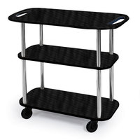 Geneva 36104 Rectangular 3 Shelf Laminate Tableside Service Cart with Handle Cutouts and Ebony Wood Finish - 16 inch x 42 3/8 inch x 35 1/4