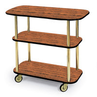 Geneva 36104 Rectangular 3 Shelf Laminate Tableside Service Cart with Handle Cutouts and Victorian Cherry Finish - 16 inch x 42 3/8 inch x 35 1/4
