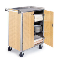 Lakeside 615 4 Shelf Standard Duty Stainless Steel Utility Cart with Enclosed Base and Light Maple Finish - 16 1/2 inch x 27 3/4 inch x 32 3/4 inch