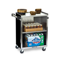 Lakeside 610 3 Shelf Standard Duty Stainless Steel Utility Cart with Enclosed Base and Black Finish - 16 1/2 inch x 27 3/4 inch x 32 3/4 inch