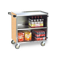 Lakeside 644 3 Shelf Medium Duty Stainless Steel Utility Cart with Enclosed Base and Hard Rock Maple Finish - 22 1/2 inch x 39 1/4 inch x 37 3/8 inch