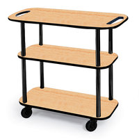 Geneva 36104 Rectangular 3 Shelf Laminate Tableside Service Cart with Handle Cutouts and Maple Finish - 16 inch x 42 3/8 inch x 35 1/4