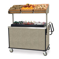 Lakeside 668 Stainless Steel Vending Cart with Insulated Polyethylene Ice Bin, Overhead Shelf, and Beige Suede Finish - 28 1/2 inch x 54 3/4 inch x 67 inch