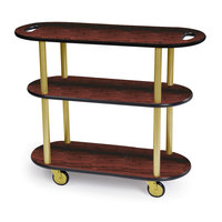 Geneva 36204 Oval 3 Shelf Laminate Table Side Service Cart with Handle Cutouts and Red Maple Finish - 16 inch x 42 3/8 inch x 35 1/4