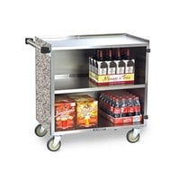 Lakeside 644 3 Shelf Medium Duty Stainless Steel Utility Cart with Enclosed Base and Gray Sand Finish - 22 1/2 inch x 39 1/4 inch x 37 3/8 inch