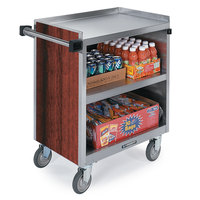 Lakeside 822 3 Shelf Heavy Duty Stainless Steel Utility Cart with Enclosed Base and Red Maple Finish - 19 1/2 inch x 31 1/4 inch x 34 1/2 inch