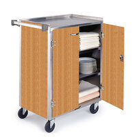 Lakeside 815 4 Shelf Medium Duty Stainless Steel Utility Cart with Enclosed Base and Light Maple Finish - 16 7/8 inch x 28 1/4 inch x 37 1/2 inch