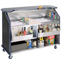 Lakeside 886 63 1/2 inch Stainless Steel Portable Bar with Black Laminate Finish, 2 Removable 7-Bottle Speed Rails, and 2 40 lb. Ice Bin