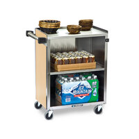 Lakeside 610 3 Shelf Standard Duty Stainless Steel Utility Cart with Enclosed Base and Hard Rock Maple Finish - 16 1/2 inch x 27 3/4 inch x 32 3/4 inch