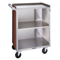 Lakeside 810 3 Shelf Medium Duty Stainless Steel Utility Cart with Enclosed Base and Red Maple Finish - 16 7/8 inch x 28 1/4 inch x 34 1/2 inch