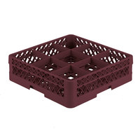 Vollrath TR10A Traex Full-Size Burgundy 9-Compartment 4 13/16 inch Glass Rack with Open Rack Extender On Top