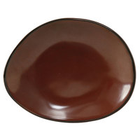 Tuxton GAR-650 TuxTrendz Artisan Red Rock 8 3/8 inch x 6 7/8 inch Ellipse China Plate - 12/Case
