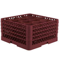 Vollrath TR18JJJA Traex Rack Max Full-Size Burgundy 12-Compartment 9 7/16 inch Glass Rack with Open Rack Extender On Top