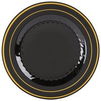 Fineline Silver Splendor 506-BKG 6 inch Black Plastic Plate with Gold Bands - 15 / Pack