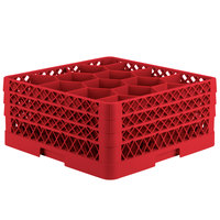 Vollrath TR18JJJ Traex Rack Max Full-Size Red 12-Compartment 7 7/8 inch Glass Rack