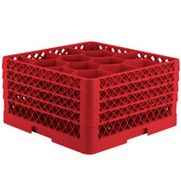 Vollrath TR18JJJA Traex Rack Max Full-Size Red 12-Compartment 9 7/16 inch Glass Rack with Open Rack Extender On Top