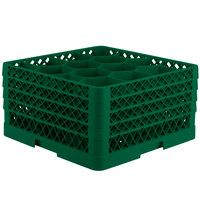 Vollrath TR18JJJJ Traex Rack Max Full-Size Green 12-Compartment 9 7/16 inch Glass Rack