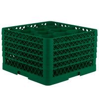 Vollrath TR18JJJJJ Traex Rack Max Full-Size Green 12-Compartment 11 7/8 inch Glass Rack