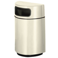 Rubbermaid FGH2436 Half Round Open Front Almond Fiberglass Waste Receptacle with Rigid Plastic Liner 18 Gallon (FGFGH2436PLAL)