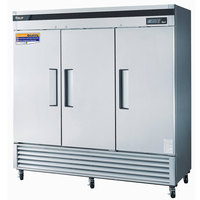 Turbo Air TSR-72SD 82 inch Super Deluxe Three Section Solid Door Reach in Refrigerator - 72 Cu. Ft.