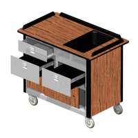 Lakeside 69030 Stainless Steel Beverage Service Cart with 3 Drawers and Victorian Cherry Laminate Finish - 26 inch x 44 1/2 inch x 37 3/4 inch